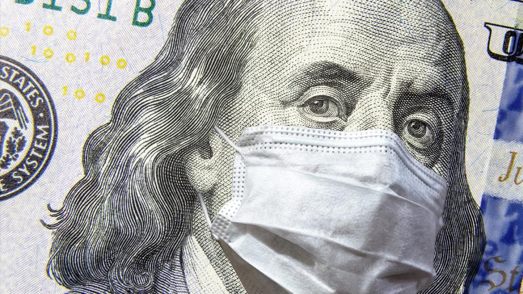 Benjamin Franklin auf dem Dollarschein trägt eine Schutzmaske