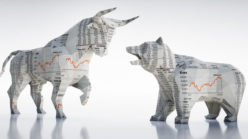 Bulle und Bär - Symbole für die Börse