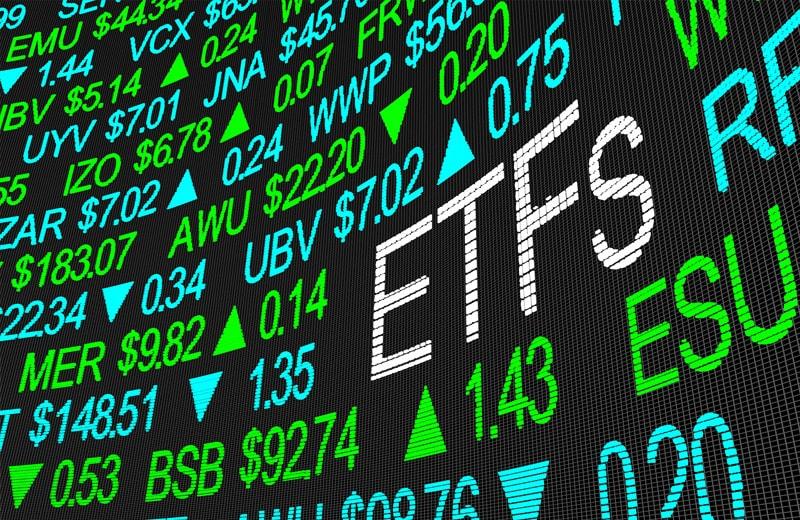 Bildschirm mit ETFs