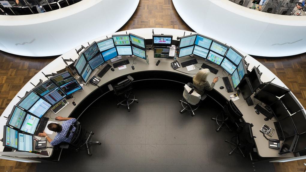 Arbeitsplatz in der Börse Frankfurt