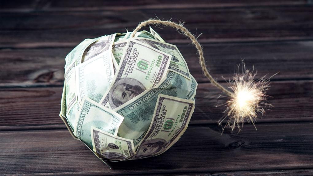 Bombe aus Dollarscheinen
