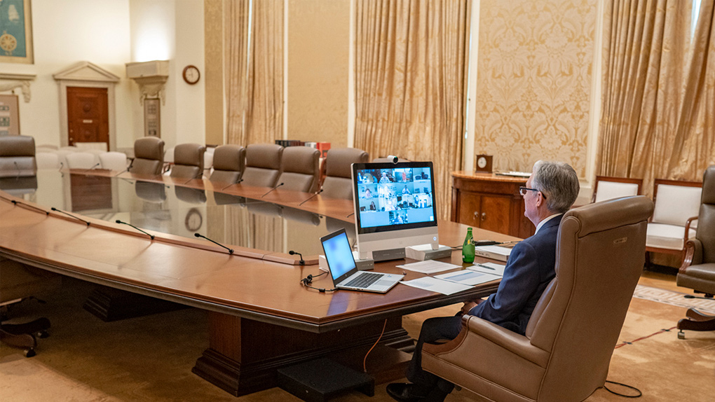 Jerome Powell, Chef der Federal Reserve, bei einer Videokonferenz